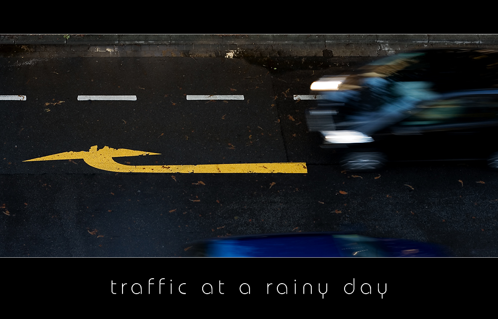 traffic at a rainy day