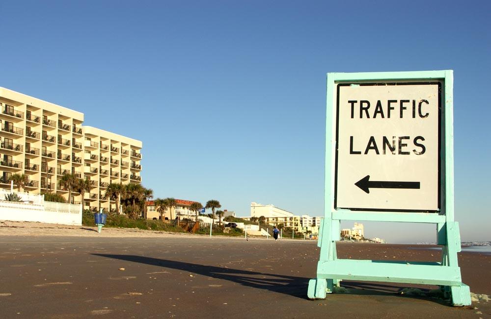Traffic on the beach