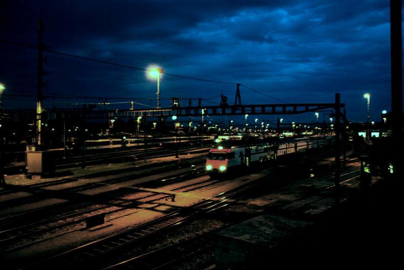 trainyard by night