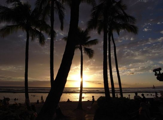 tramonto alle Hawaii