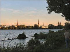 Tramonto vicino all`Alster.