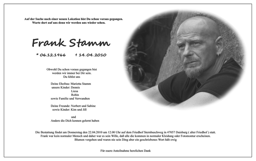 * Trauer um Frank Stamm *