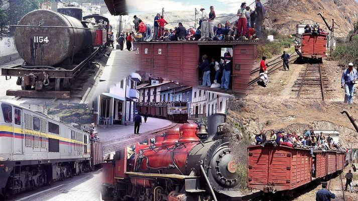 Trenes turísticos en la estación de Alausí (Ecuador, provincia de Chimborazo).