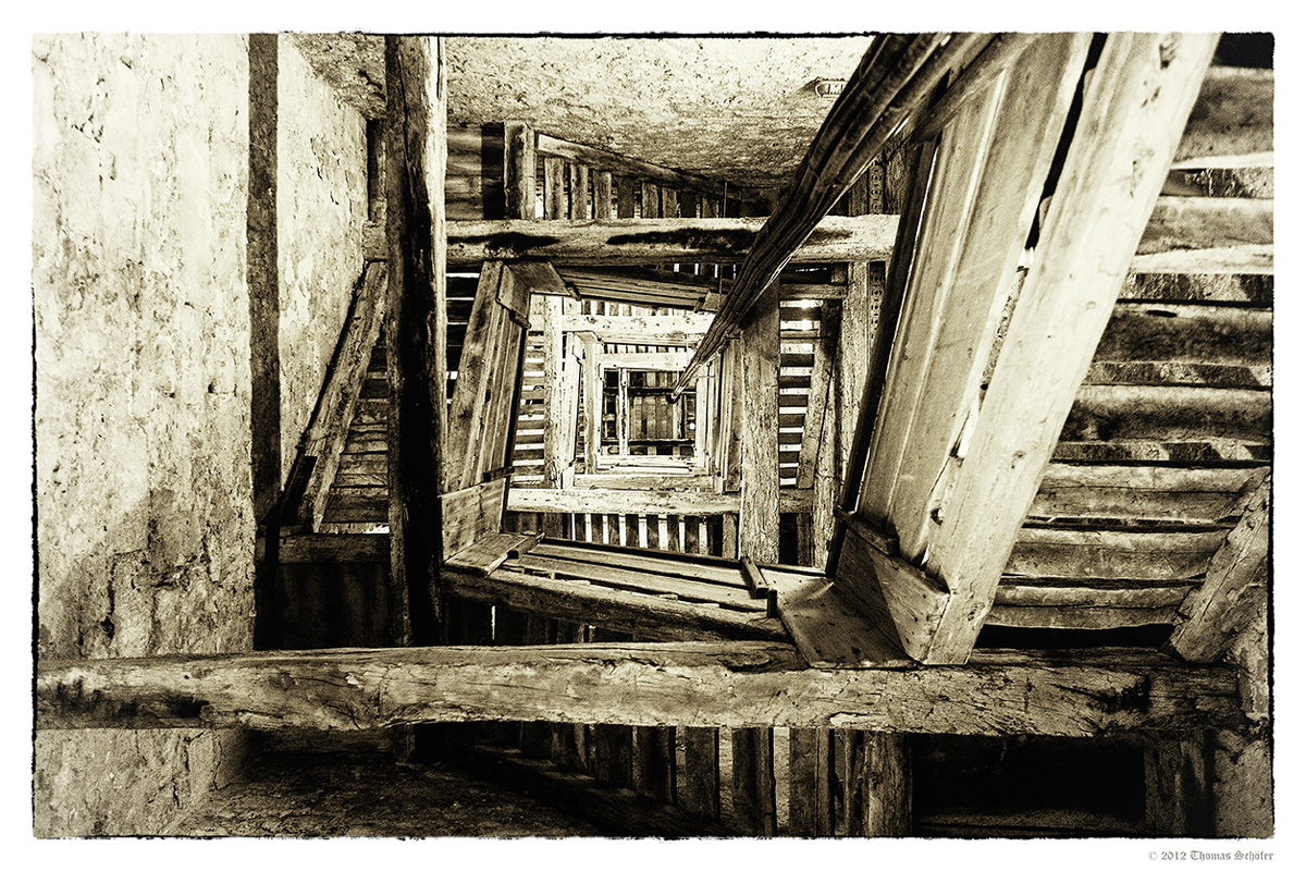 Treppe im Kirchturm von Sveta Eufemija in Rovinj