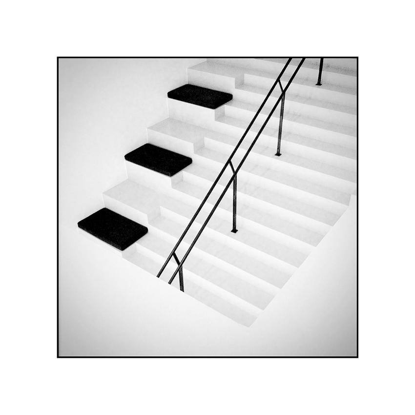 Treppe in schwarz und weiß