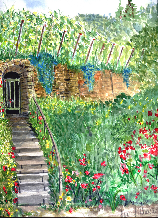 Treppe zum alten Weinberg in der Salpeterhütte in Markwerben
