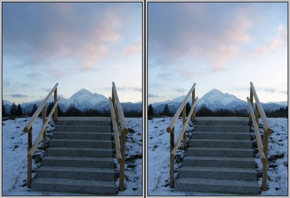 Treppe zum Gipfel 3D Kreuzblick