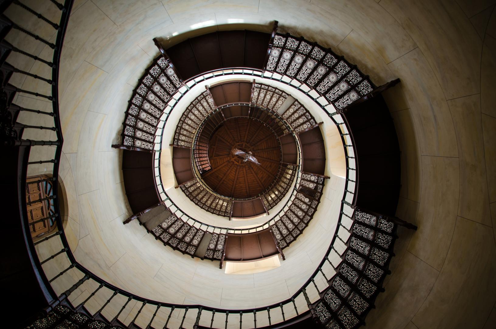 Treppenaufgang zum Turm des Jagdschlosses auf Rügen