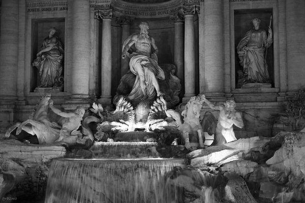 Trevi Fountain BW