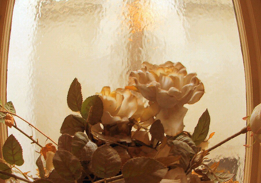 Trockenblumen im Treppenhaus