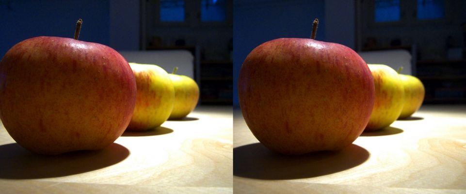 trois pommes (3D)