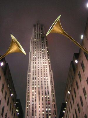 Trompeten vorm Rockefeller-Center