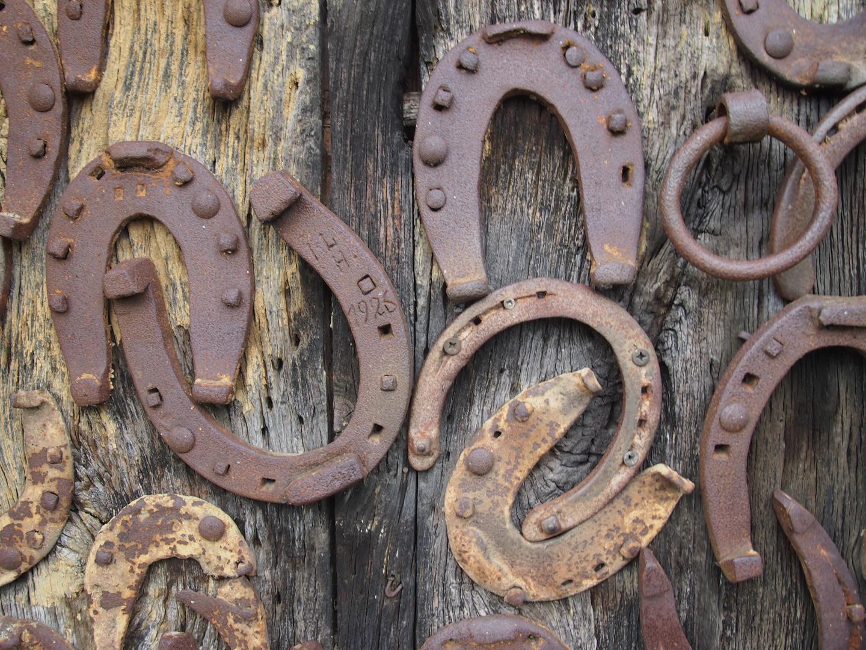 Tür mit Hufeisen an der Gangolfskapelle in Neudenau