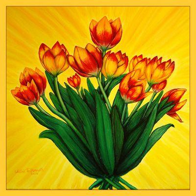 Tulpen in Öl gemalt
