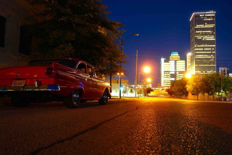Tulsa Skyline with Car - Route 66