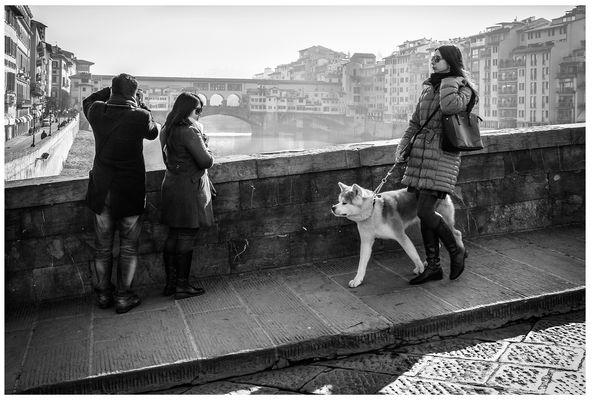 Turisti al passaggio di signora con cane.