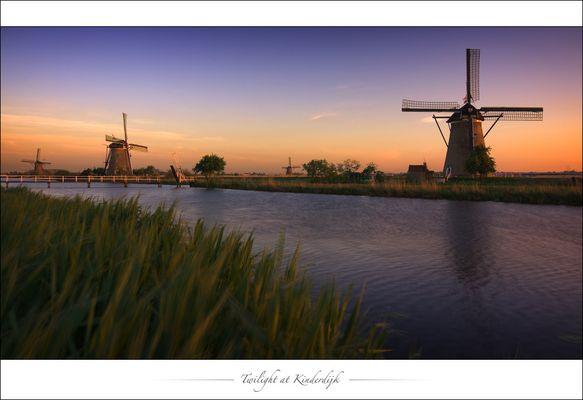 Twilight at Kinderdijk