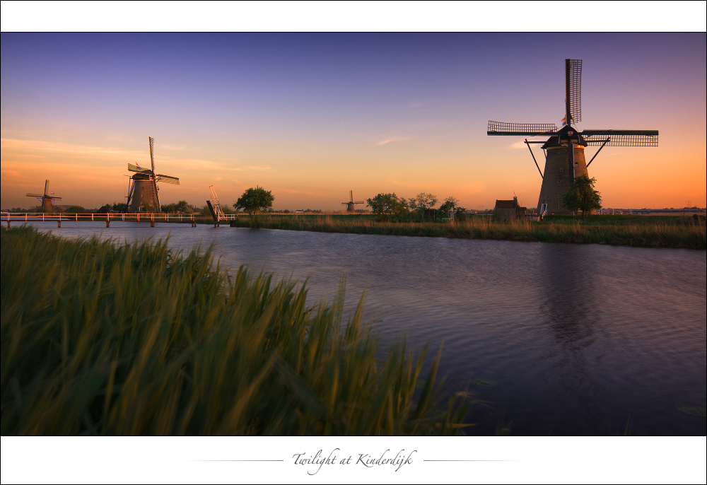 Twilight at Kinderdijk
