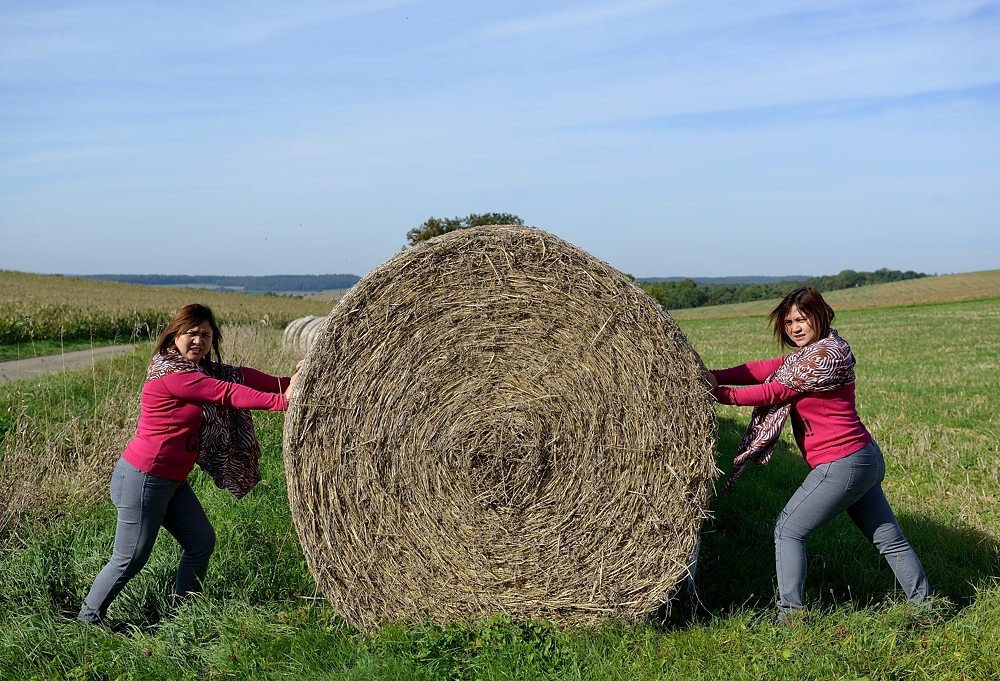 Twins bei der Feldarbeit