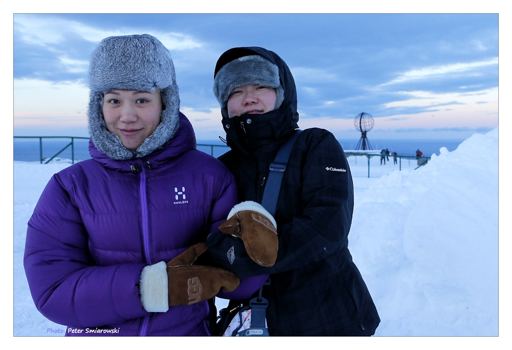 Two girls from Singapore at the North Cape