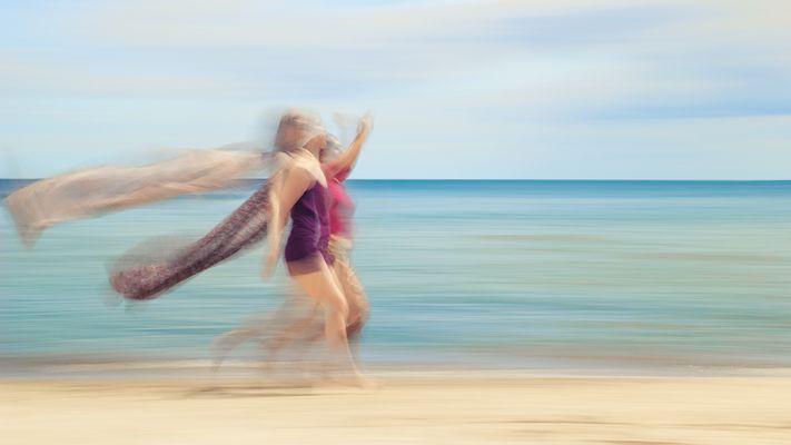 two women on beach #V