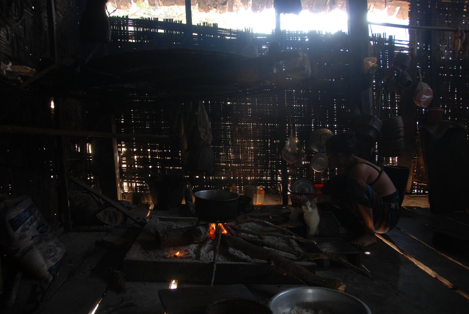 typische laotische Küche, hier in einem Dorf in der Khammouan Provinz
