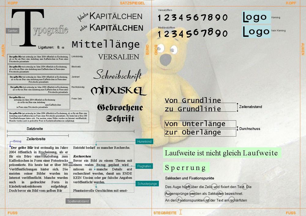 Typografie mit dem gelben Bär Poster A3