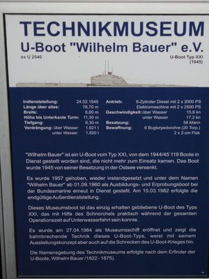 U-Boot Wilhelm Bauer Specs