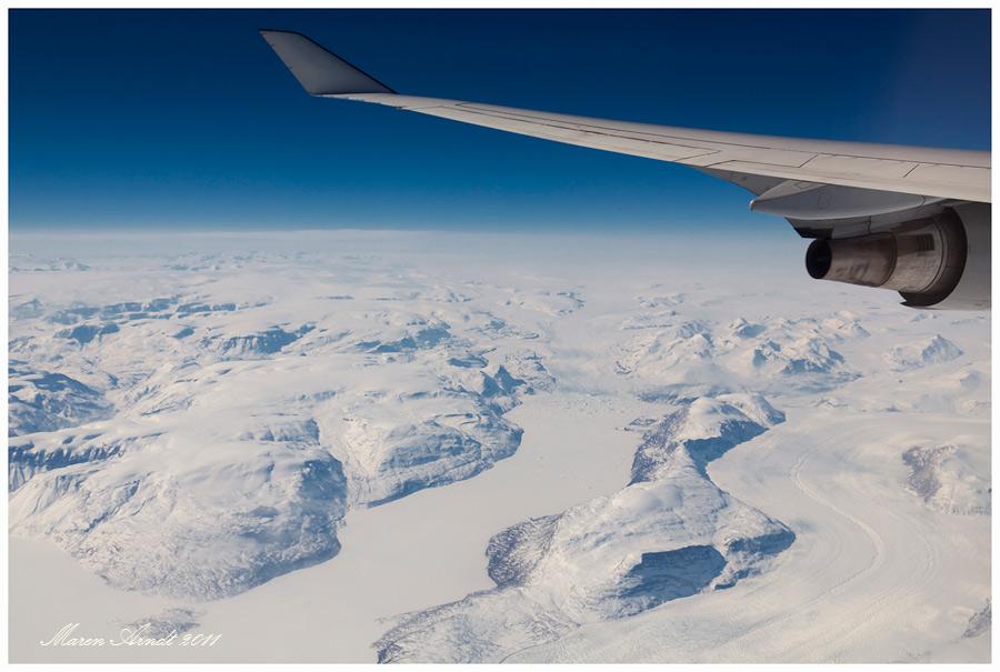 Über Grönland und dann weiter gen Westen ....