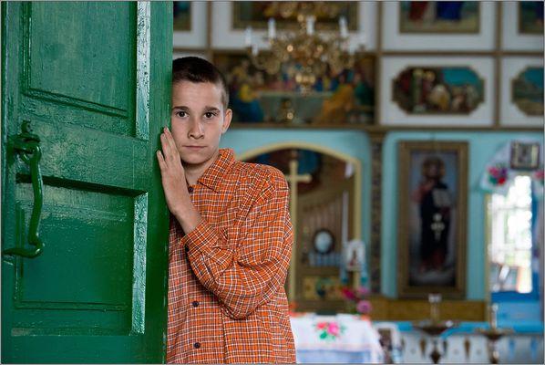 Ukraine. Eine Dorfkirche bei Tschernobil.
