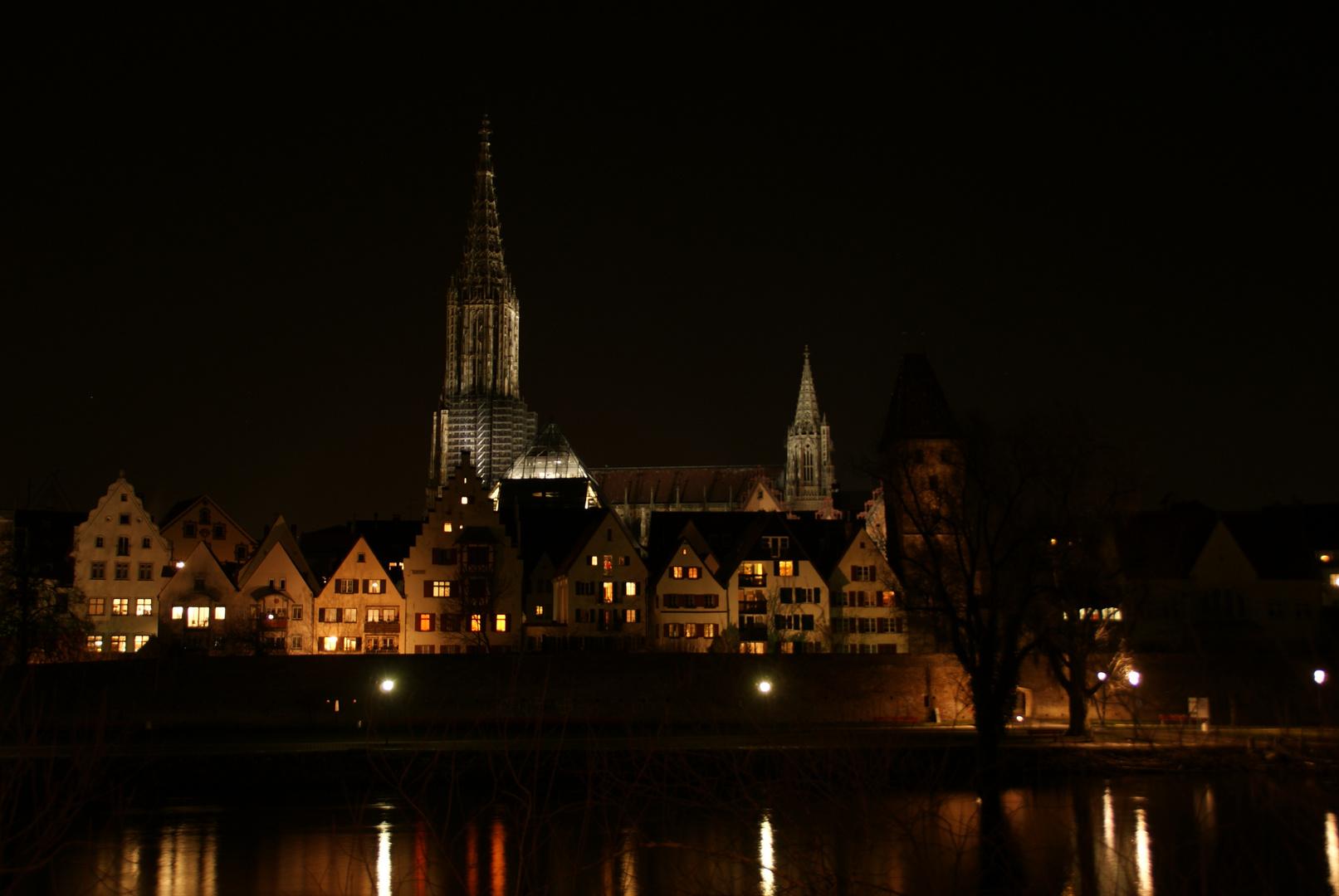 Ulm von Neu-Ulm, bei Nacht