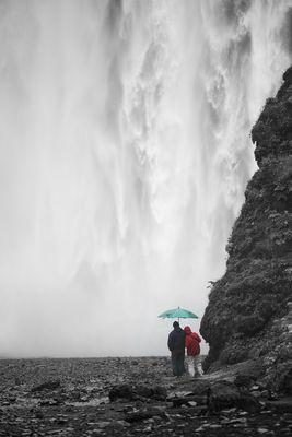 Umbrella against Waterfall