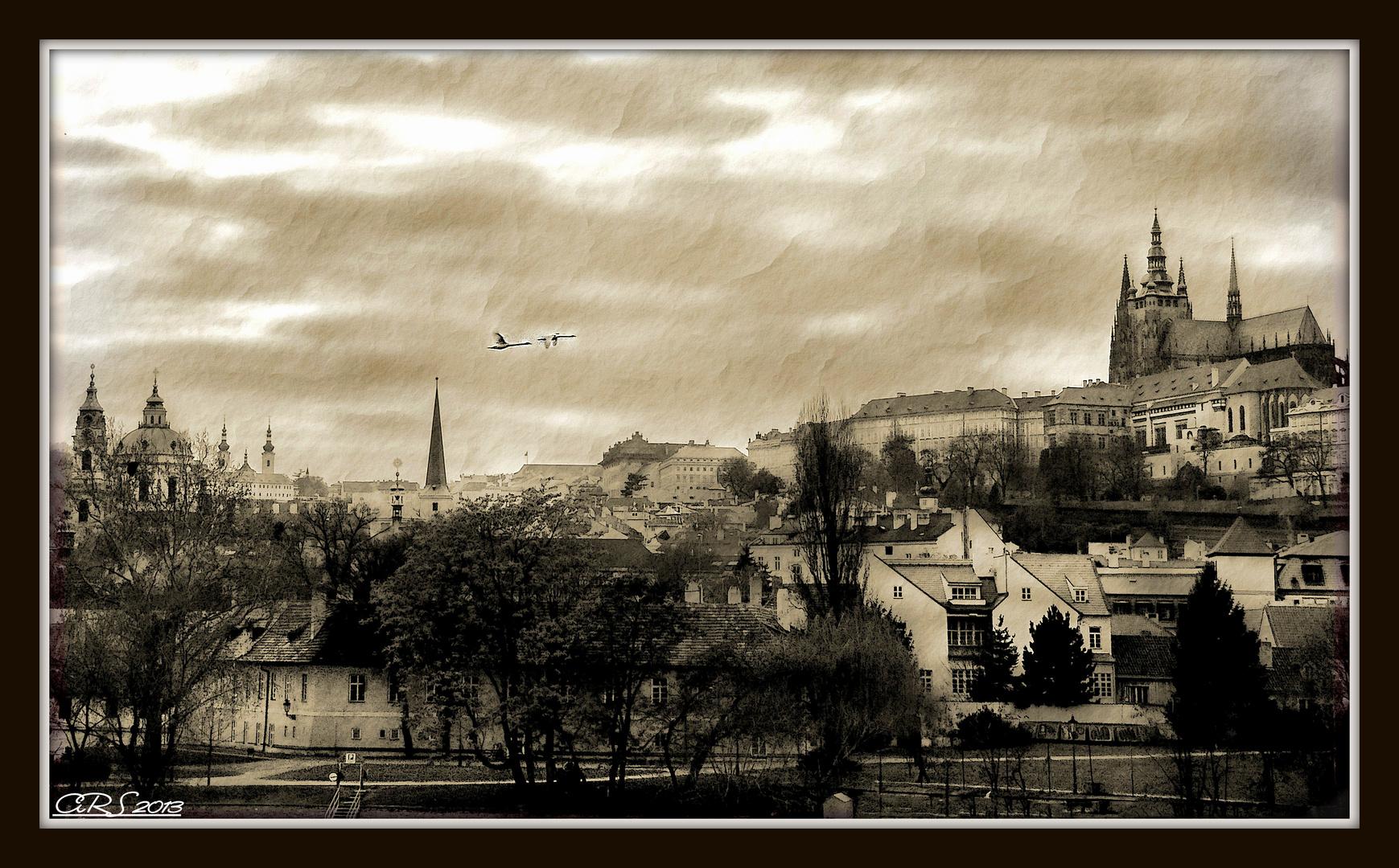 Un pequeño descanso (Praga en blanco y negro)