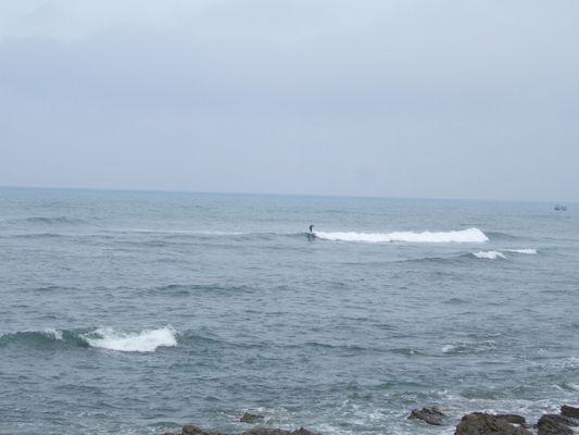 Un surfeur dans la bais du BAB (Biaritz Anglet Bayonne)