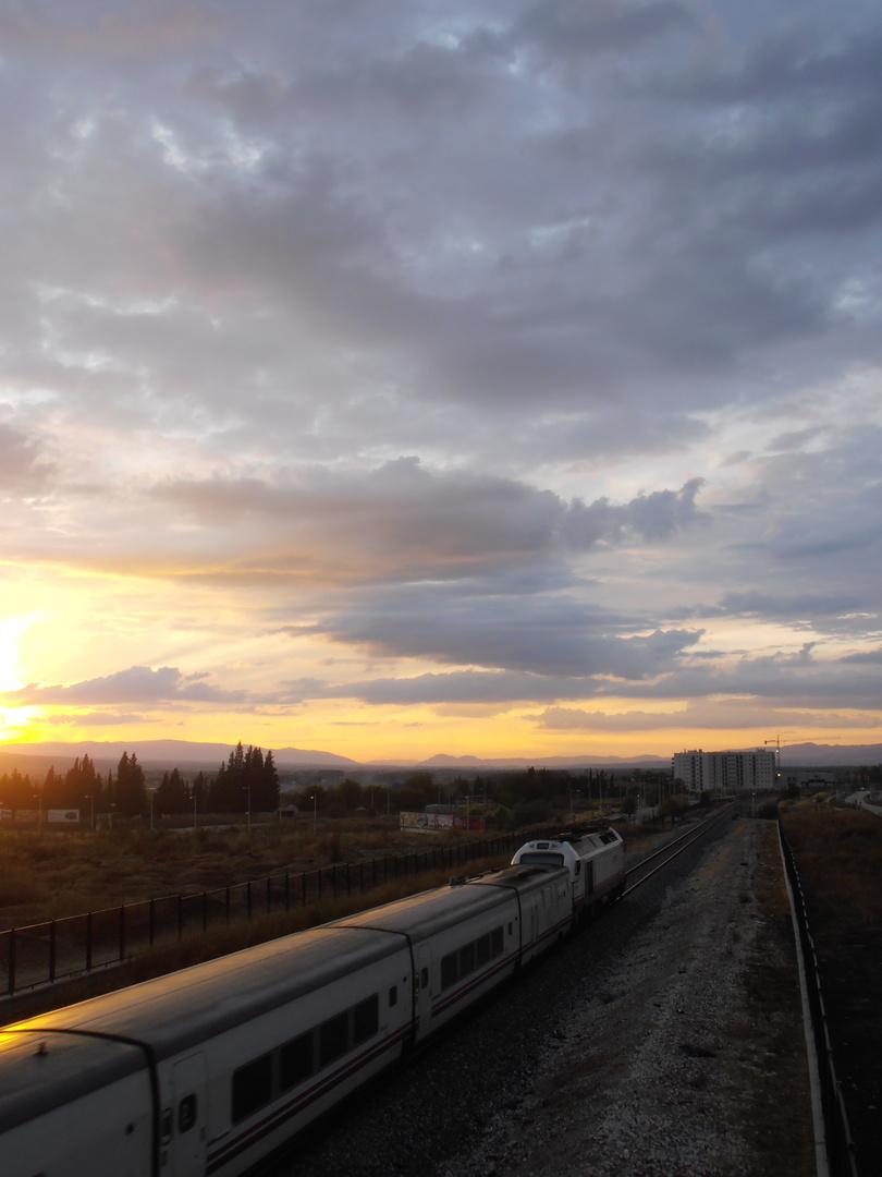 Un tren al atardecer