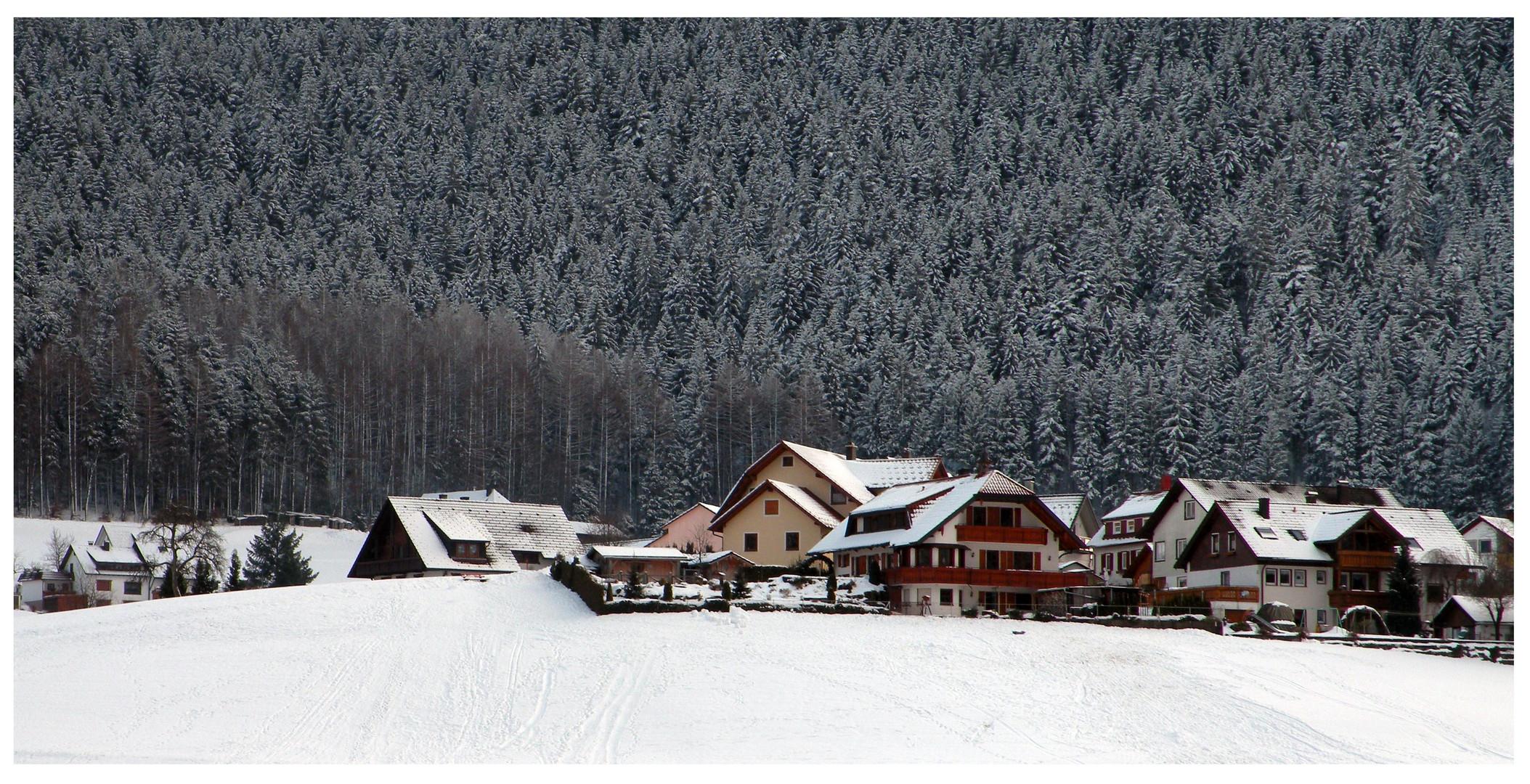Un village sous la neige.