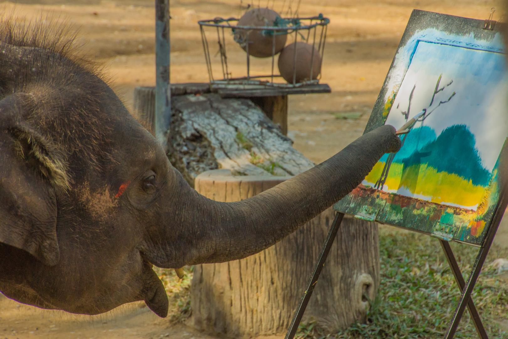 unbekannter Künstler - Mae Sa Elefantencamp/Nordthailand