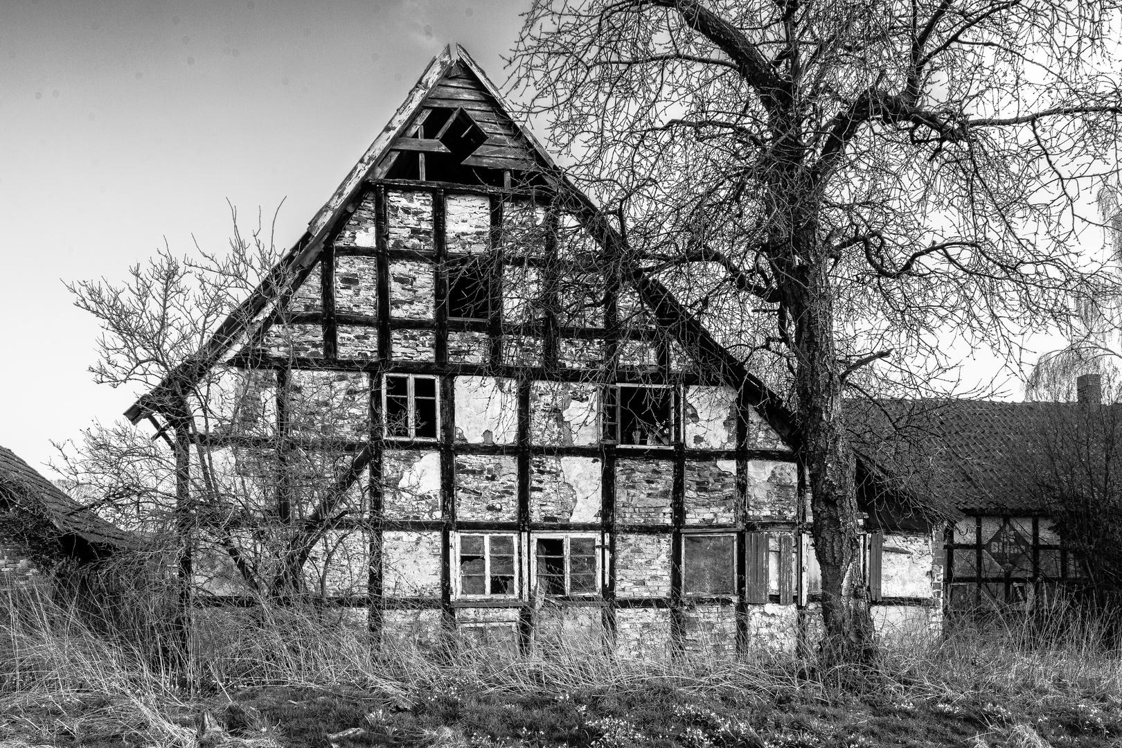 Unbewohntes Fachwerkhaus im Osnabrücker Land
