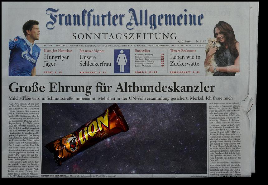 ... und die LION Riegel werden in Schmidt-Schnauze-Schoko umbenannt