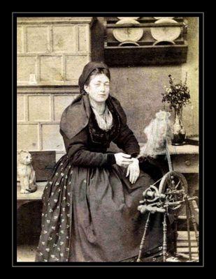 ...und seine Frau Alexandrine am Spinnrad, 1871