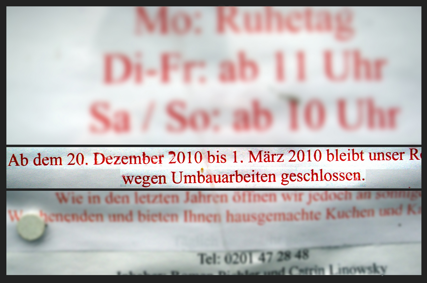 und wann gibt´s wieder Kuchen? 2011 wohl nicht!!