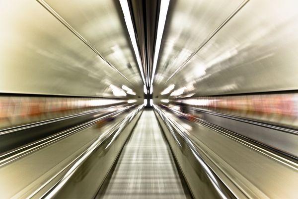 Underground Escalator at Piccadilly Circus