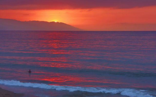 une baignade au coucher du soleil
