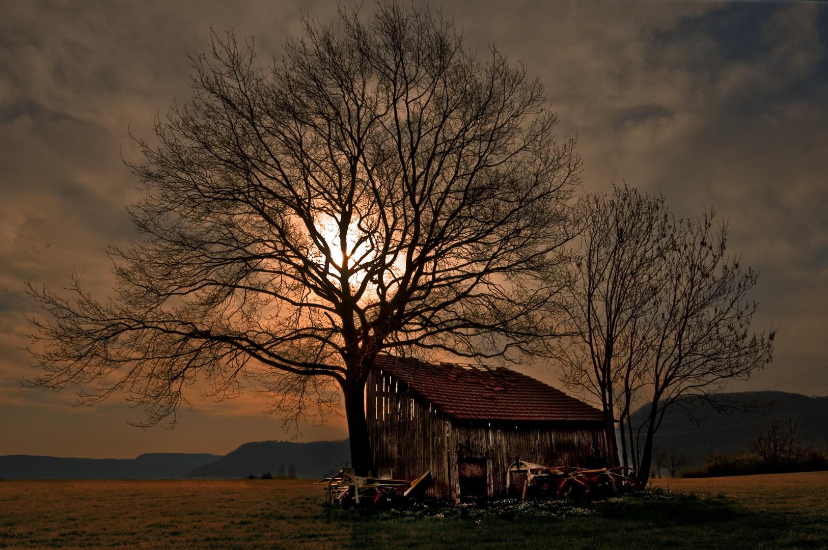 Une grange au soleil couchant - Scheune