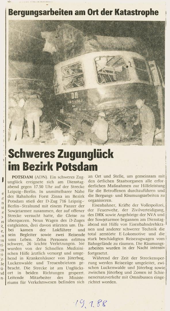 Unglück bei der Reichsbahn