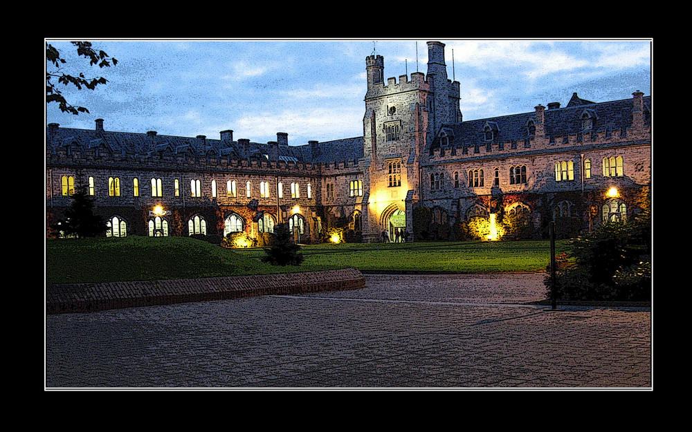 University by night - Illustration