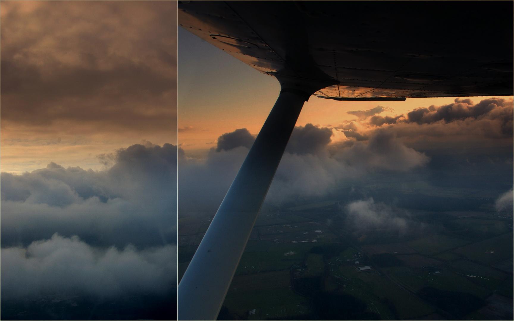 Unter den Wolken ist die Farbe anders als über den Wolken...
