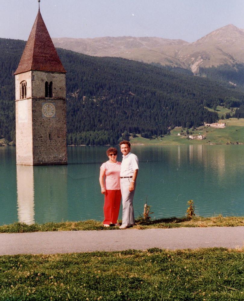 Urlaubserinnerungen 3 ..... Am Reschensee in Südtirol
