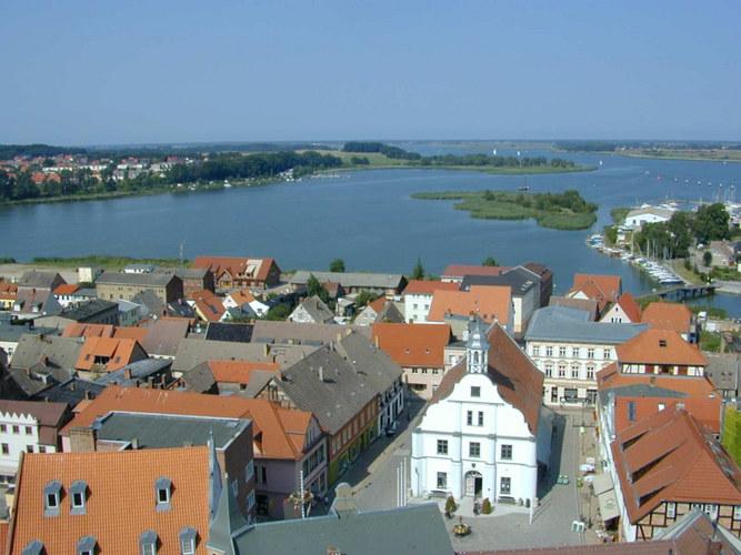 Usedom, vom Kirchturm in Wolgast gesehen