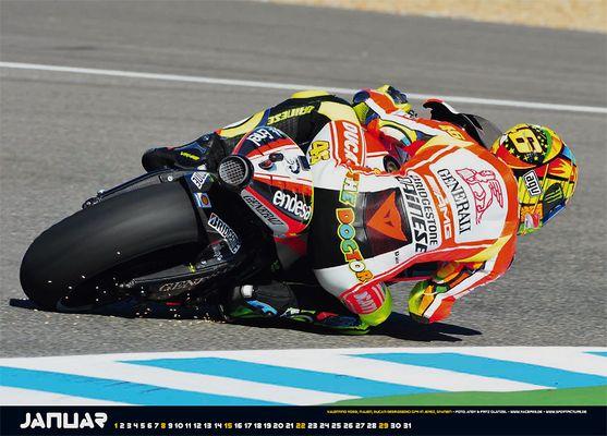 Valentino Rossi kämpft mit der Ducati Desmosedici